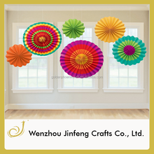 Colorful hanging Decoration paper hand fans
