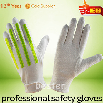 Low price High reflective fashion cotton parade gloves