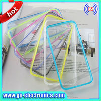 2013 trendy colorful TPU bumper +PC transparent clear 2 in 1 case for iphone 5 5s