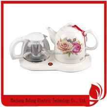 Decal flower turkish double tea pot kettle set 1.0l ceramic water kettle and 1.2L enamel tea kettle-1
