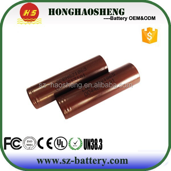 High drain li-ion battery 18650 3.7V 3000mah INR18650 LGHG2 20A discharge