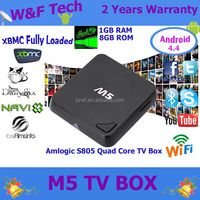 New amlogic s805 chip M5 hd 1080p H.265 4k media player m5 quad core android smart tv box