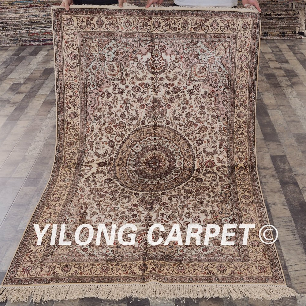 YILONG 4'x6' handknotted silk persian carpet lounge decoration home office exquisite rug