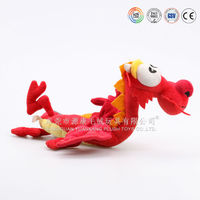Factory price OEM cuddly stuffed plush toy red dragon