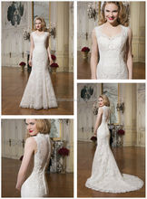 Stylish 2014 V-Neck Sheer Back Long Mermaid Tail Lace Wedding Dress Famous Designer Newest Garden Bridal Gown NB0637