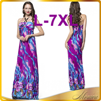 XL - 7XL Summer Style Halter Beach Dress Women Maxi Dress Big Size Holiday Robe Sexy Clothing