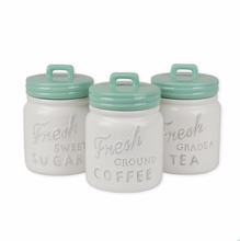 3-Piece Classic Ceramic Food Storage Canisters with Airtight Lid For Sugar, Coffee, Tea