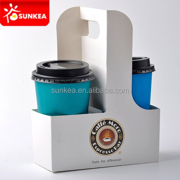2 cups and 4 cups cardboard coffee paper cup tray holder