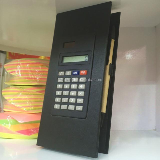 Foldable Square Cube Black Kraft Paper Sticky Note Memo Pad Box with Solar Calculator