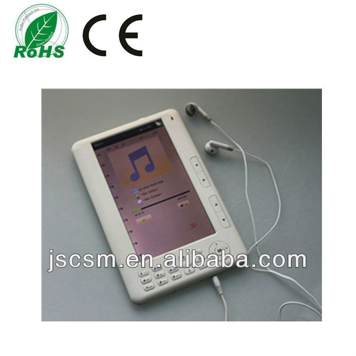 7 inch button e-book with 800*480 resolution,rockchip solution,TFT screen,4G memory,video+music+photo+ebook etc.