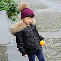 CX-G-C-08C Brown Inner Black Outer Raccoon Fur Collar Bomber Jacket Kids Winter Coat