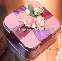 Square Wedding Candy Tin Box With Ribbon And Flower popular gift box