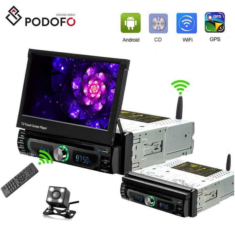 Podofo <strong>Android</strong> 8.0 Car DVD Player 1DIN Autoradio 7&quot; Radio Stereo GPS WiFi Bluetooth Touch Screen MP5 Detachable Panel + Camera