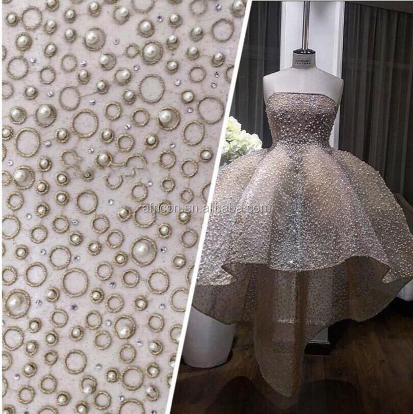 new 2016 hot design pearls beaded african lace fabrics white french tulle lace for wedding dress