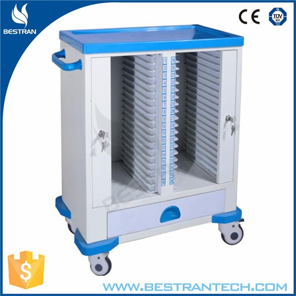 BT-CHY011 China factory sale rolling medical cart, steel medical trolley, tablet medical cart