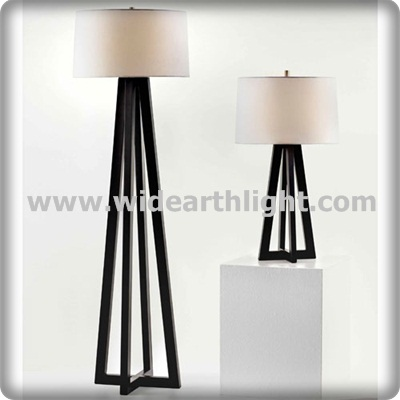 UL Listed Black Bedroom Floor Lamp And Bedside Table Light Hotel Lighting Set With Fabric Shade T80386