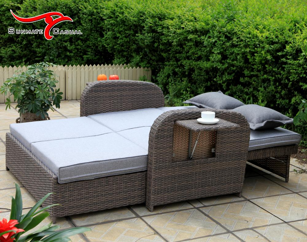Adjustable Leisure Outdoor Furniture Garden Rattan Wicker Folding Pull Out Sofa Bed Couch