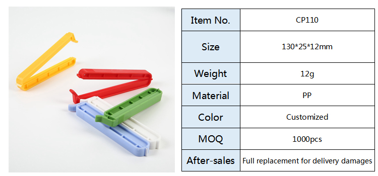Food Grade PP Plastic Food Bag Airtight Sealing Clips