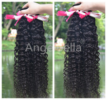 Angelbella Double Drawn Unprocessed Virgin Jerry Curl Weave Extensions 100% Virgin Peruvian Jerry Curly Human Hair For Braiding
