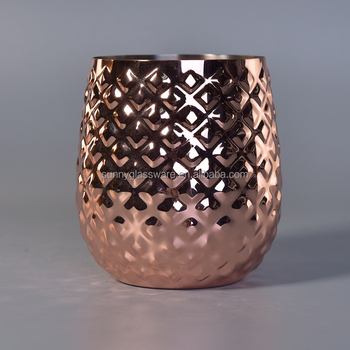 Luxury Rose Gold Geo Cut Candle Jars Wholesale