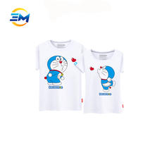 100%cotton white t-shirts with cartoon figures printed high quality for woman