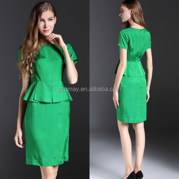 China Supplier Lady Short Sleeve Professional Uniforms Evening Wear Peplum Style Green OL Business Suit For Women