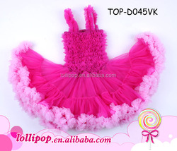 Princess children frock model hot pink baby frock designs chiffon fluffy fashion frock design for baby girl