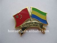 Double National Flags Crossed Metal Badges Emblems