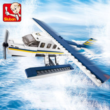 Popular game model kits sluban building blocks ABS plastic of aviation airport play set educational toys for kids