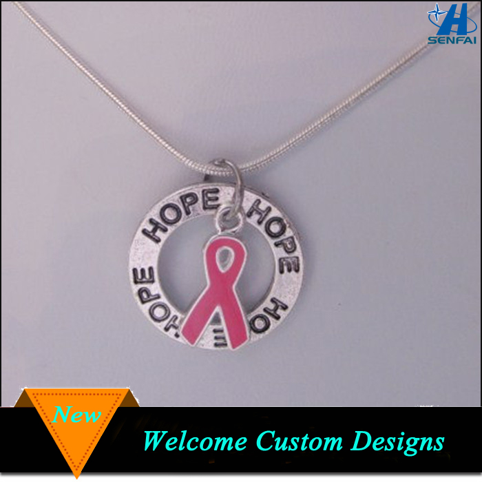 Factory direct wholesale pink ribbon breast cancer awareness charm pendant necklace