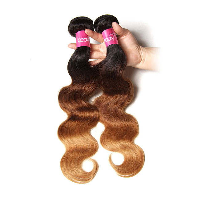 Peruvian Ombre Virgin Blonde Hair Weaving Bundles With Closure