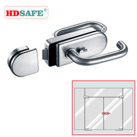 Lever lock with handles for tempered glass swing doors
