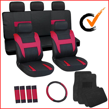 17pc Red & Black Flat Cloth Seat Covers w/ Black Carpet Floor Mats for Car/Truck/Van/SUV