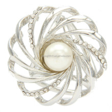 Women's Silver Gold Scarf Ring Brooch Pin Buckles with Pearls for Silk Scarf