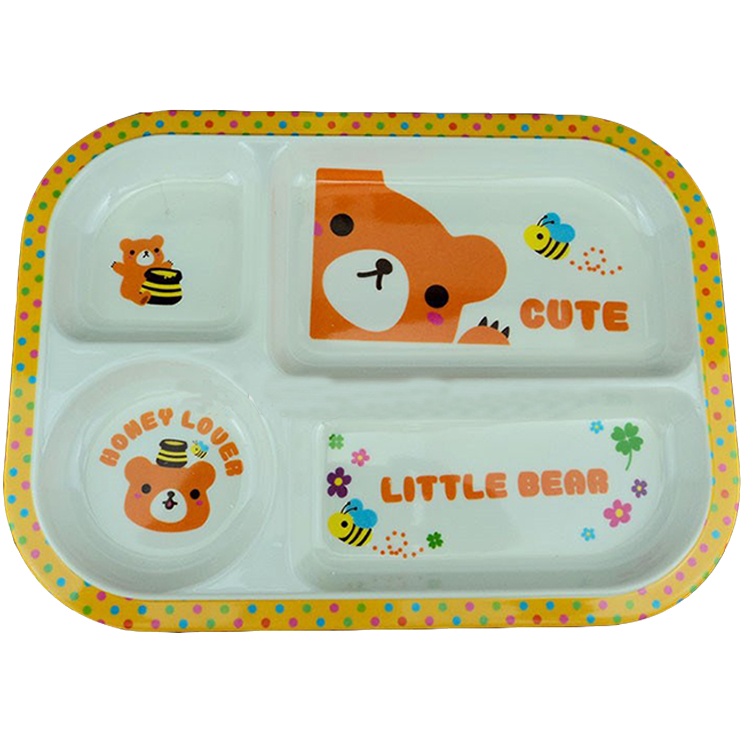 Rectangle Kids Melamine Divided Dinner Plate