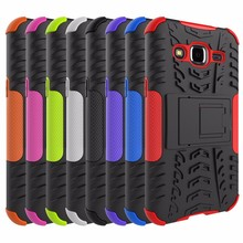custom shockproof armor kickstand cell phone case for samsung j2 2016