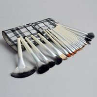 Free Shipping 20pcs Professional Makeup Brush Set White Handle Brush For Makeup Cosmetic Tools With Case V0155A