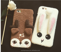 Little fawn and Lover rabbit cartoon fuzz Phone case hard case Cover For Apple Iphone 5 5s 6 6s 6plus CO-MIX-9080