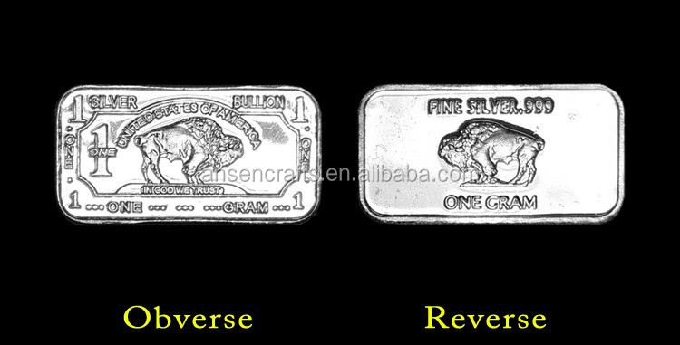 1 Gram Buffalo Pure Silver Bullion Bar for Sale with Good Qulaity