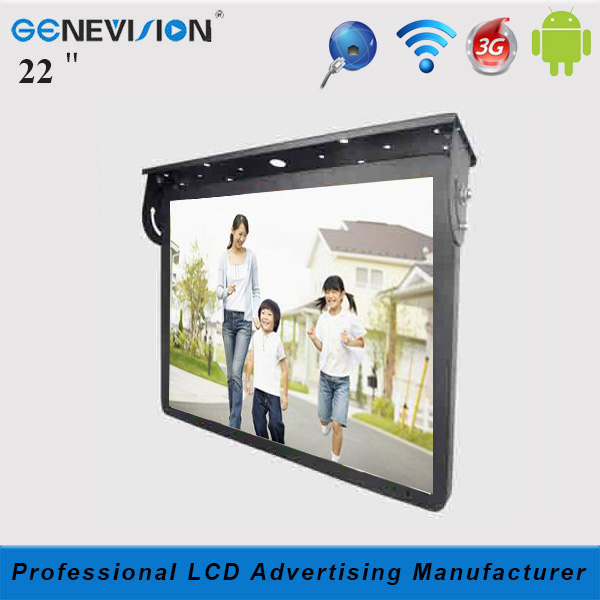 retail Android 22 inch ultra-thin roof-mounting Bus/Taxi Advertising LCD TV monitor with split screen function