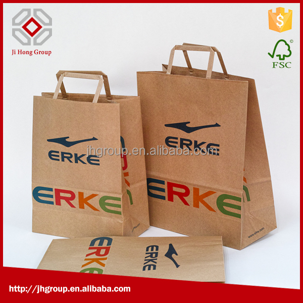 Flat-handle paper bag, flat handle kraft paper bag