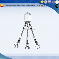 three leg extrusion slings with single master link and three hooks (Steel core)steel wire rope slings