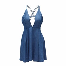 Fashion Deep V-Neck Dress Sleeveless Backless Cross Lacing Beach Denim Cocktail Mini Dress Blue