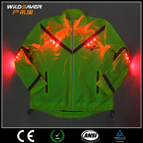 waterproof winter riding jacket with LED light
