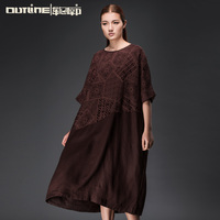 Outline original design Fashionable Patchwork Fat Size Women Party Dress