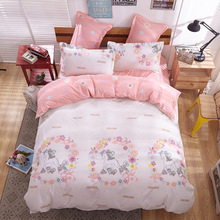 Chinese bed sheet manufacture Pink floral printed cactus velvet double size bed sheet sets