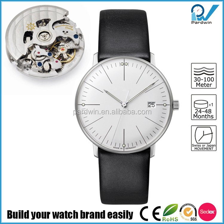 Fascinated watch collections germany design brand stainless steel case leather band men watch automatic