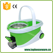 Spin Mop & Bucket System, Deluxe 360 Degree Spin Self-wringing Mop and Spin Dry Bucket with 2 Mop Heads