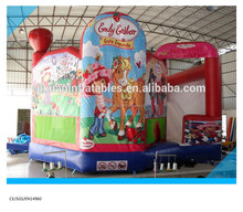 5 in 1 inflatable bouncers combo games/inflatable bouncy castle with strawberry girl art panel