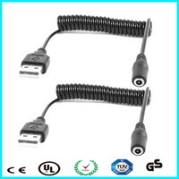 Dc extenstion power cord usb coiled electric dc cable